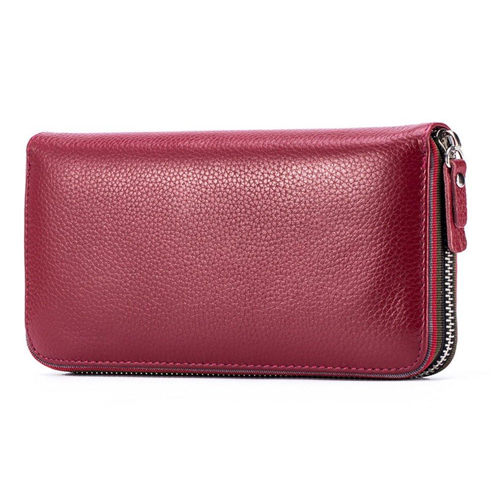MuLier Womens Wallet Genuine Leather Zip Around Clutch Large Travel Purse WW0014-Black