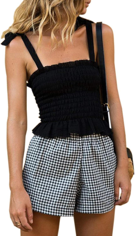 CANIKAT Womens Frill Smocked Crop Tank Tops Cami Tie Shoulder Strap Vest