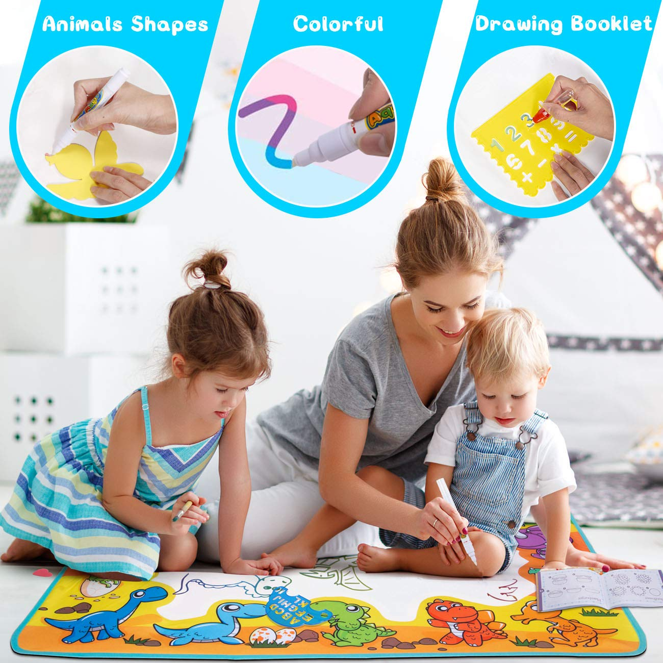 FREE TO FLY Large Aqua Drawing Mat for Kids Water Painting Writing Doodle Board Toy Color Aqua Magic