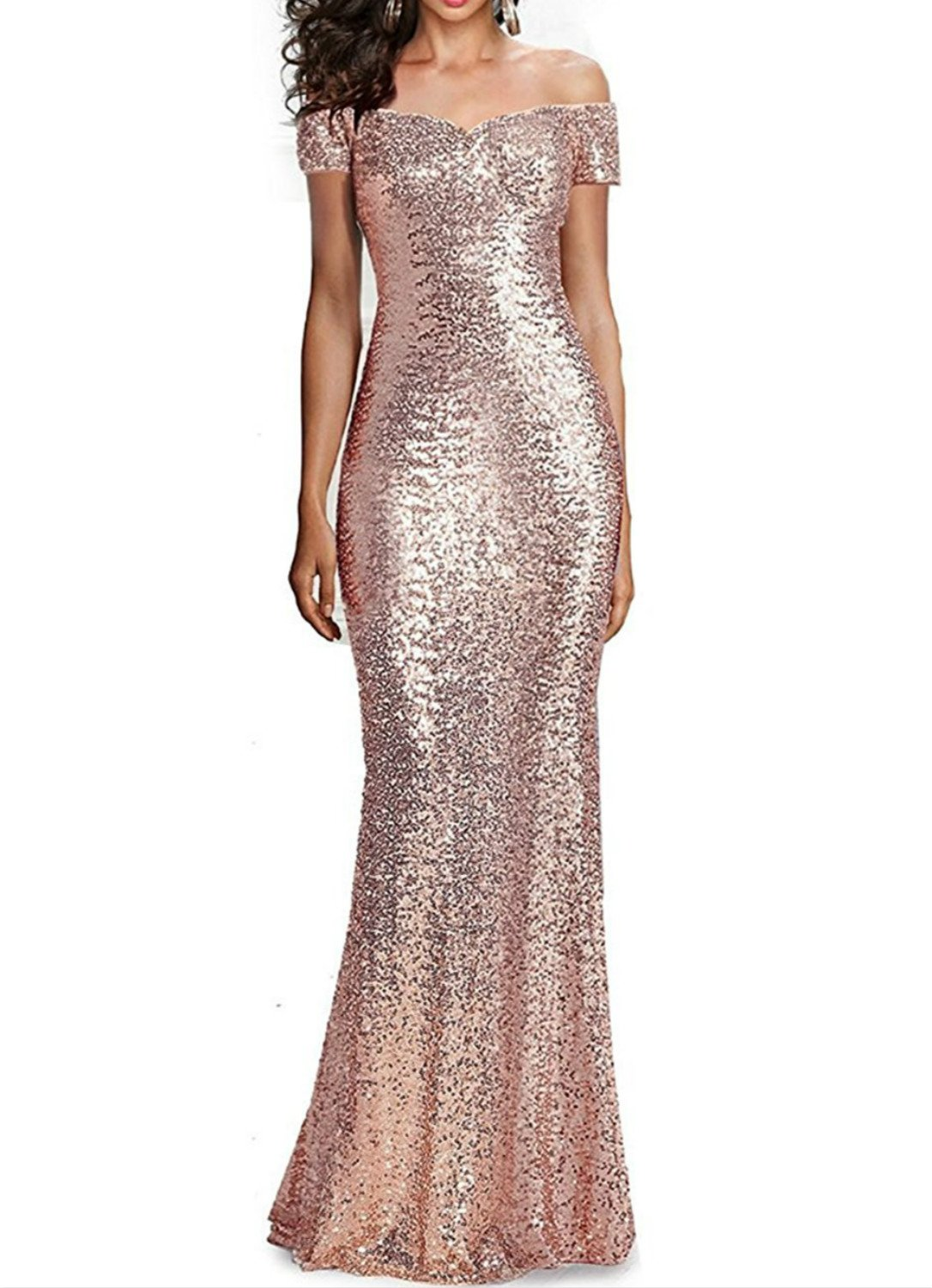72f1a7457771 ... Prom Dresses Long Mermaid Sequins Evening Party Gowns Size 10 Rose Gold.  ; 