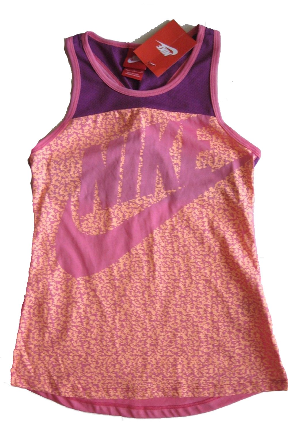NIKE Girls Summer Print Logo Racerback Tank Top (X-Large, Pink/Purple)