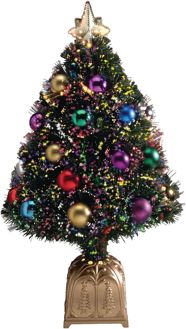 HOLIDAY PEAK Northwoods Greenery Fiber Optic Christmas Tree with Ball Ornaments, 32-in. Tall