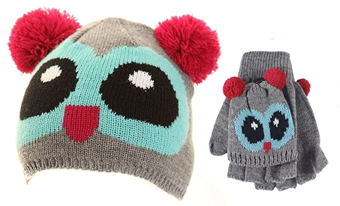 26c56d3ec84 Amazon.com  Jiglz Knitted Novelty Kids Ski Hat and Gloves in Blue ...