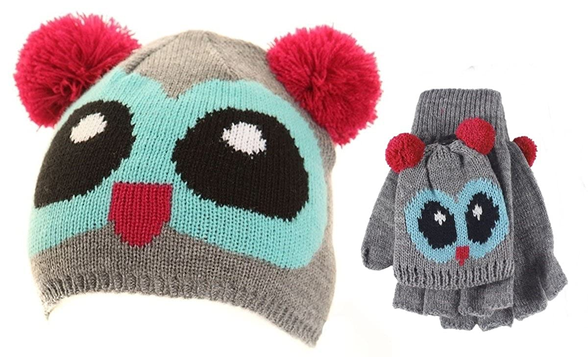 089276207 Amazon.com: Jiglz Knitted Novelty Kids Ski Hat and Gloves in Blue ...