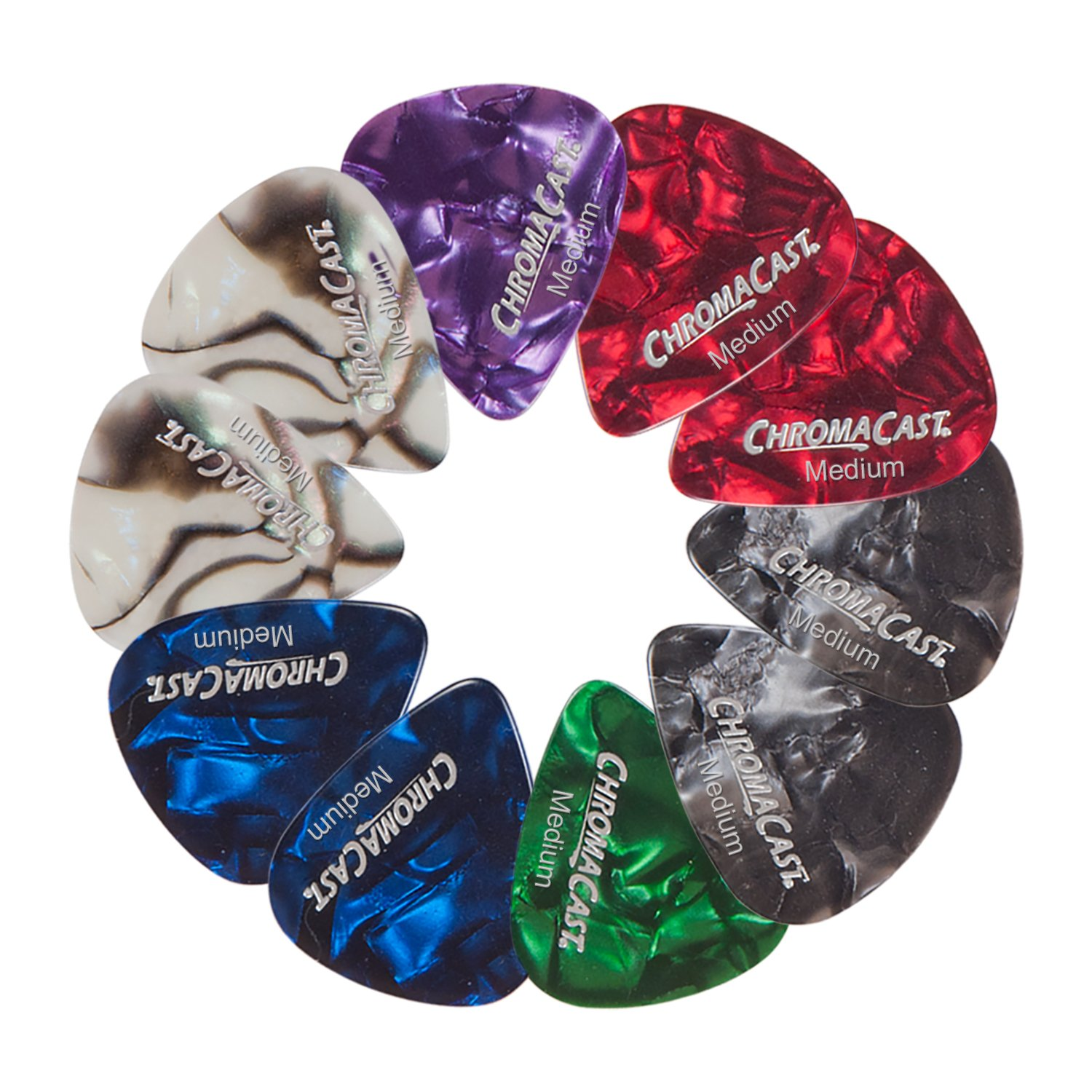 ChromaCast Pearl Celluloid Guitar Pick, Assorted Gauges, Pack of 48 CC-CP-48PK