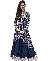 Sarees Creation Women's Silk Embroidered Semi-stitched Anarkali Gown (Lehenga Cholis 18 Years_Blue_Free Size)