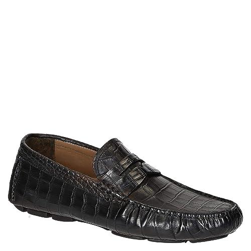 Mocasines de Hombres de Piel de cocodrilo Negro Textura: Amazon.es: Zapatos y complementos