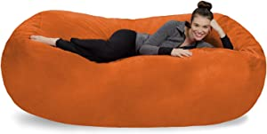 Sofa Sack - Plush Bean Bag Sofas with Super Soft Microsuede Cover - XL Memory Foam Stuffed Lounger Chairs for Kids, Adults, Couples - Jumbo Bean Bag Chair Furniture - Tangerine 7.5'