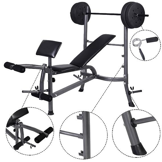 COSTWAY Banco de Pesas con Barras de Pesas Ajustable para Musculación Fitness Gimnasio Ejercicios Entrenamiento: Amazon.es: Deportes y aire libre