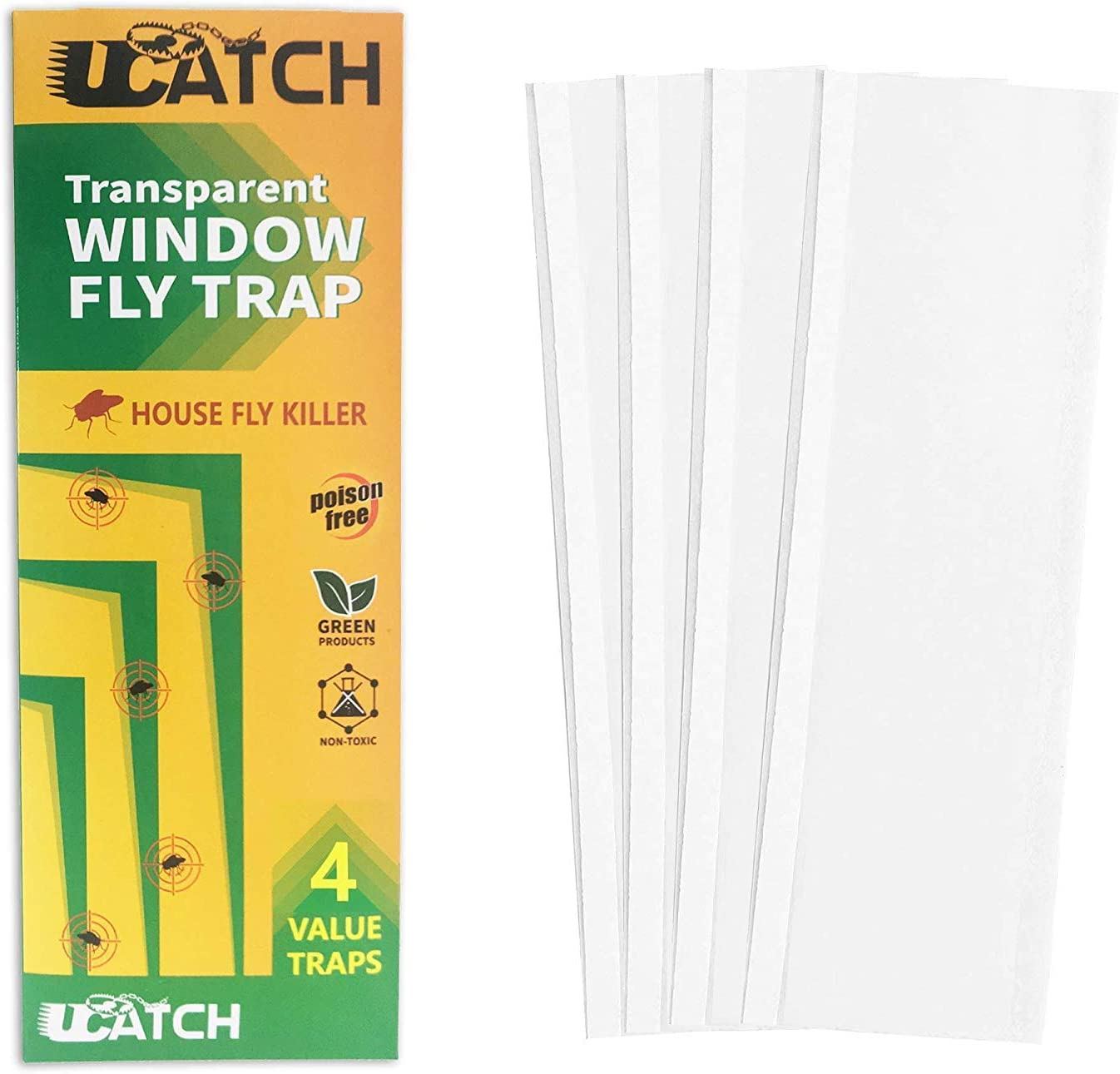 4 Transparent Window Fly Traps. Catches House Flies, Moths, Gnats, Spiders, Bugs. Green, Eco-Friendly See Through Paper with NO Poison. Peel Off Glue Tape. Place in Window to Quickly Catch Flies