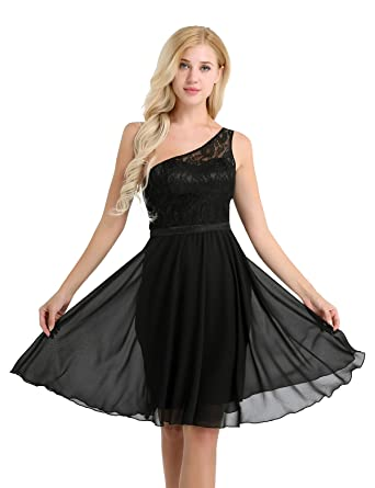 TiaoBug Womens Short Bridesmaid Dresses One Shoulder Chiffon Lace Prom Gowns Dress Black 8