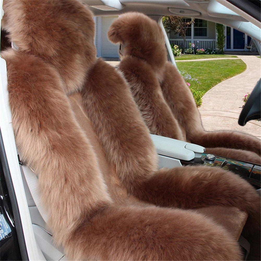 (ピーキー)Peigee カーシートカバー 車アクセサリー シートクッション ウール ムートン 軽自動車 普通車 3枚セット B01MSX4ZL3 ライトブラウン ライトブラウン