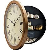MAGHO Retro Style Plastic Wall Clock With Secret Compartment as Hidden Safe for Money Jewelry Stashing (10', Wood Grain)