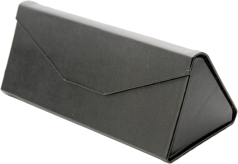 Foldable Low Profile Leather Magnetic Triangular Sunglasses Eyeglasses Case zeroUV Tri-Case