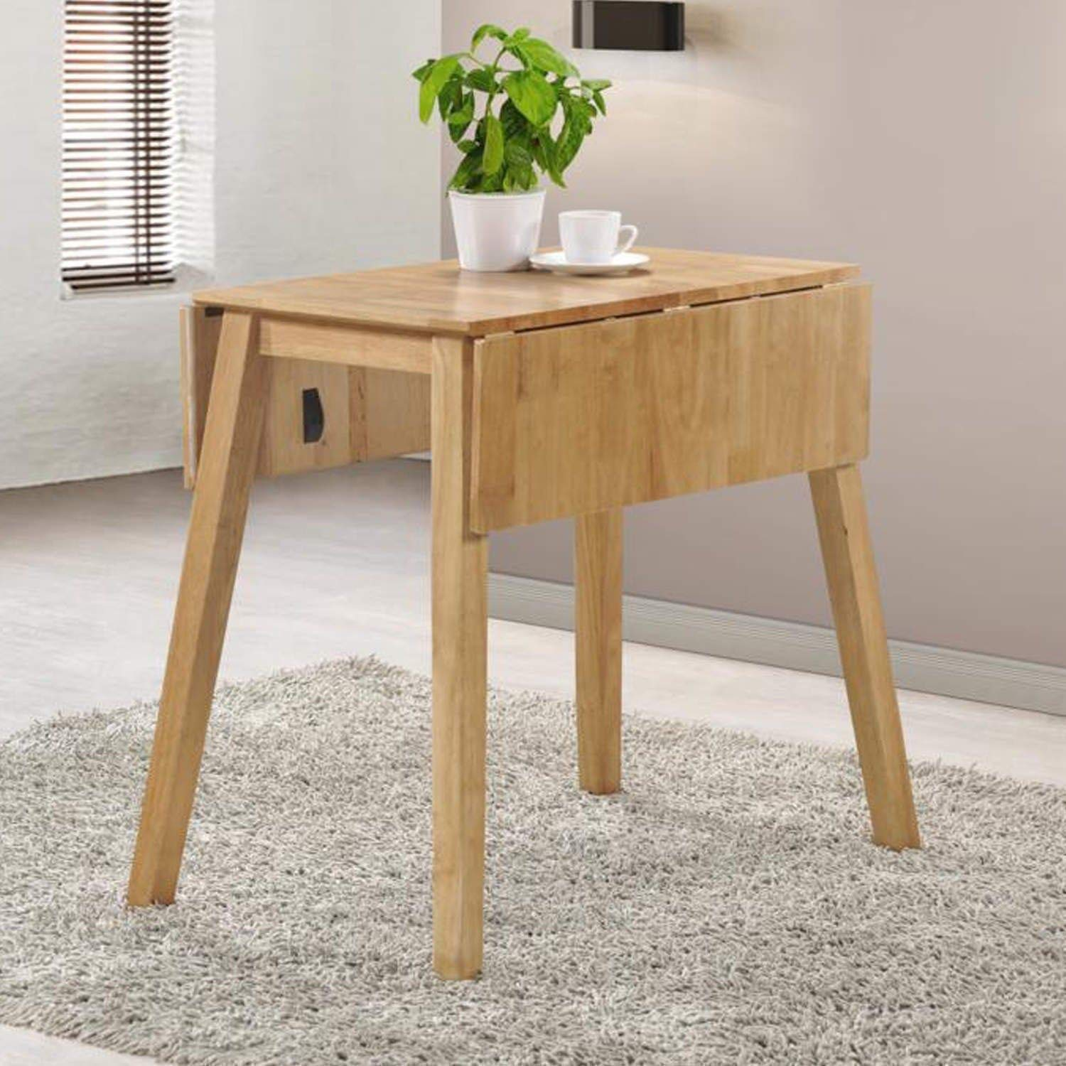 Drop Leaf Dining Table in Light Oak Solid Wood 2 Seater Kitchen