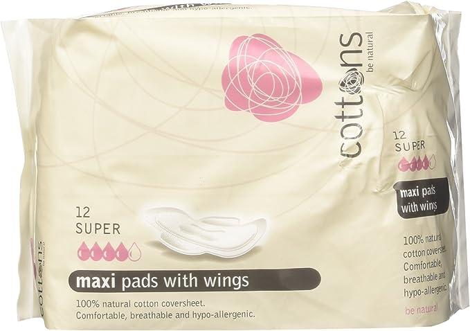 Cottons Compresa Maxi con Alas Super Algodón 100% - 12 Unidades: Amazon.es: Salud y cuidado personal