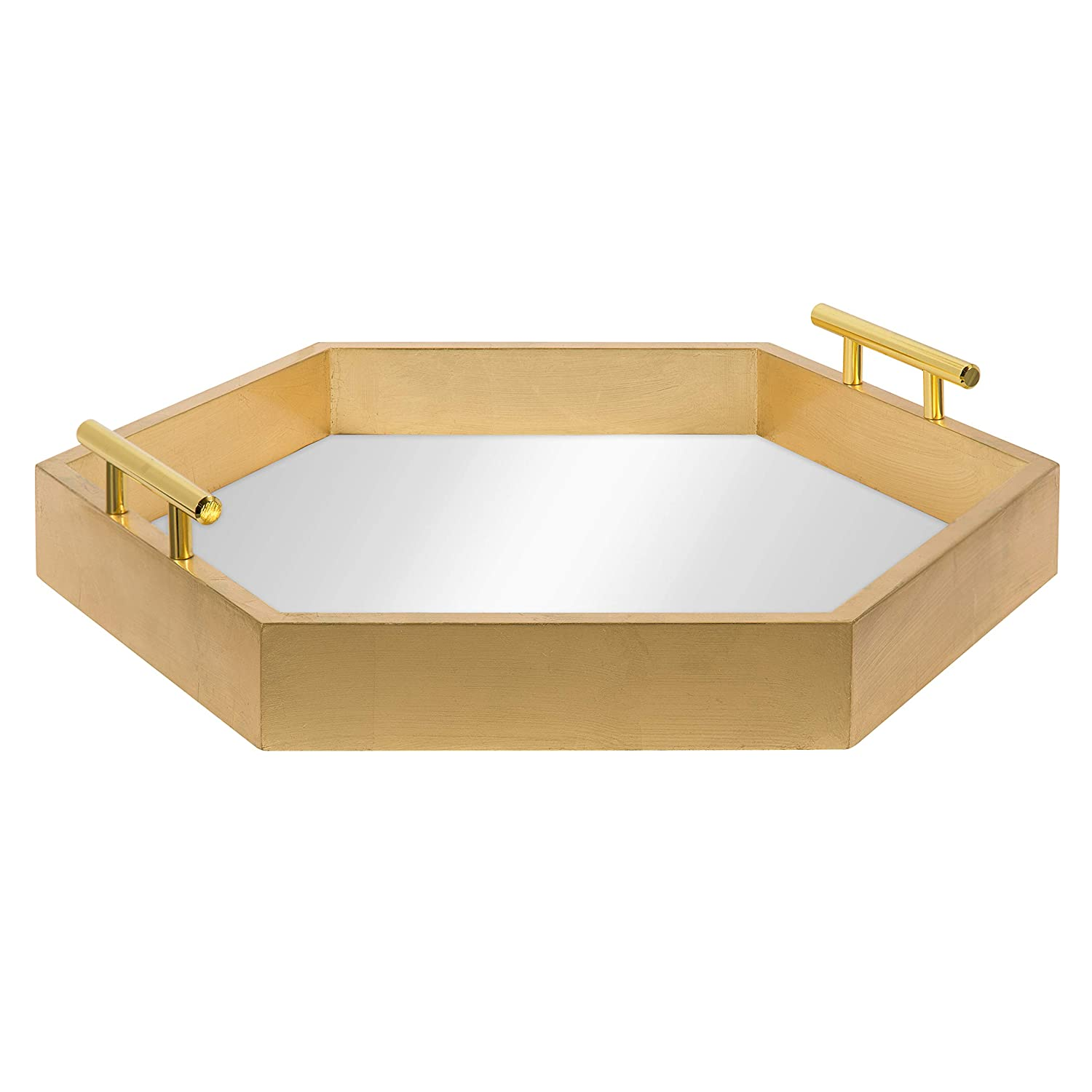 Kate and Laurel Lipton Hexagon Decorative Tray with Metal Handles, Gold Mirrored Uniek LiptonHex