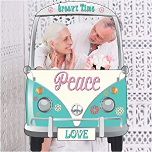 SPEEDYORDERS Hippie Decor Vans Photo Booth Props- Sizes 36x24, 1960s Hippie Selfie Frame, Peace, 60s - 70s, Hippie Car photobooth, Party Supplies Birthday Decorations, Poster Frame - DIY Poster ONLY