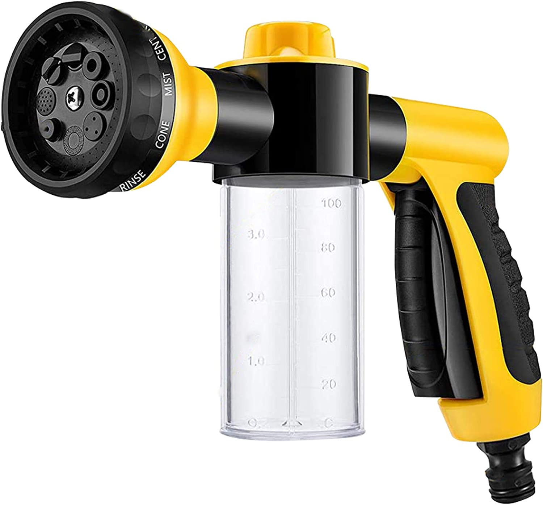 LoboJack Foam Sprayer Gun, Pressure Nozzle for Car Wash, Watering Plants, Pet Shower, Outdoor Fun - 8 Watering Patterns and Soap Dispenser