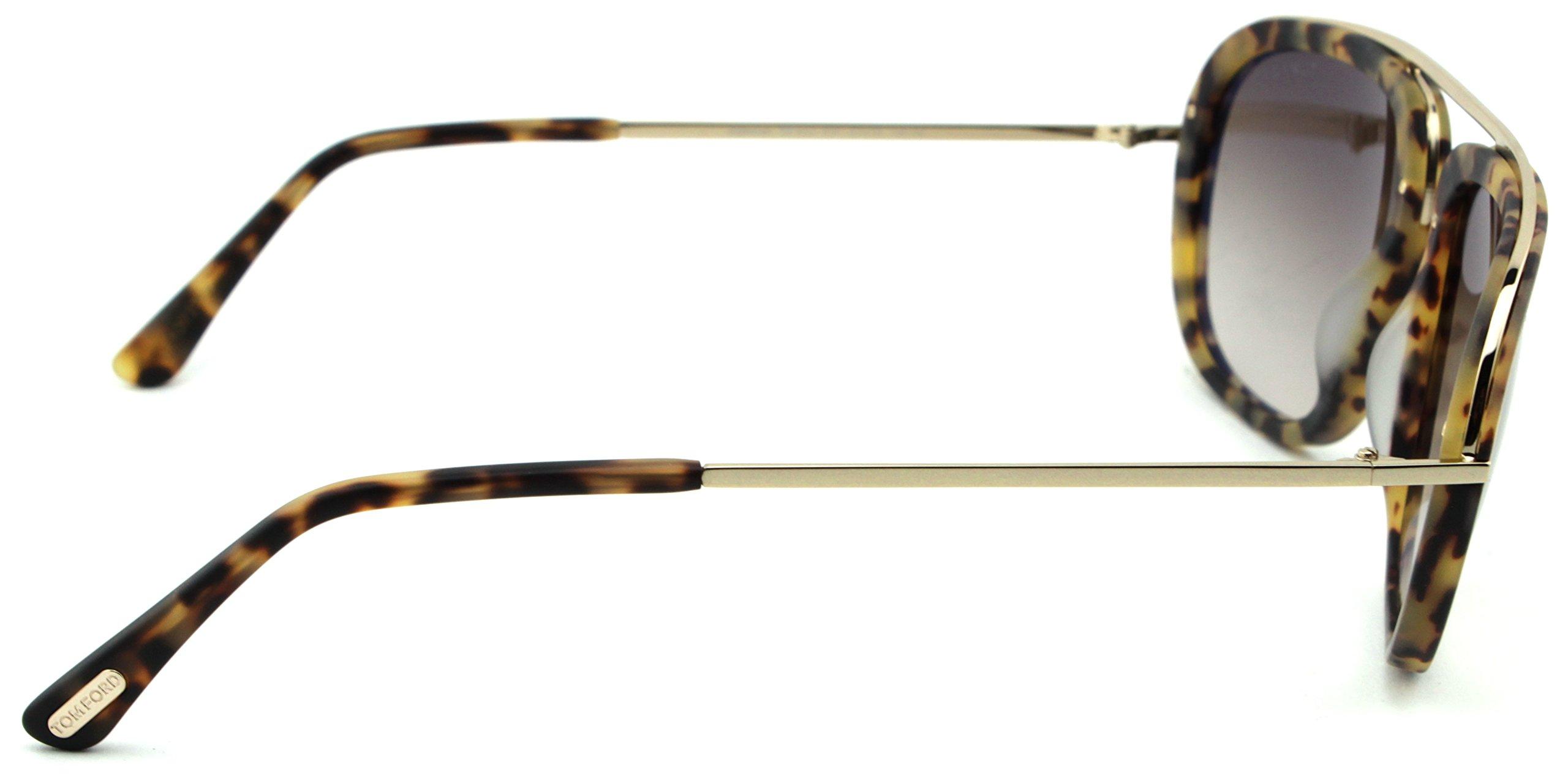 Tom Ford FT 0453 Johnson Unisex Metal Geometric Sunglasses (Blonde Havana Frame, Gradient Brown Lens 53F) by Tom Ford (Image #3)
