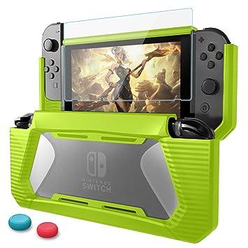 Funda para Nintendo Switch,HEYSTOP TPU PC Carcasa de Protección con Protector de Pantalla para Nintendo Switch Consola,Anti-Choques/Arañazo (Verde)