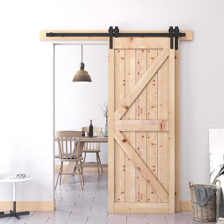Penson /& Co Black 6.6 FT Bypass Sliding Barn Door Hardware Kit Double Wood Doors One-Piece Rail Track Kit