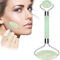 Rose Jade Roller for Face 100% Natural Quartz Anti-Aging Massage Roller wiith Gua SHA Scraping Massage Tool Set for Slimming Healing Rejuvenation & Beauty. (Green)