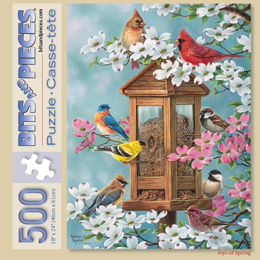 500 Piece Jigsaw Puzzle for Adults 18 X 24 500 pc Bird Jigsaws by Artist Abraham Hunter Joys of Spring Bits and Pieces