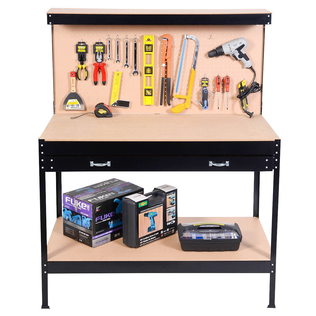 Work Bench Tool Storage Steel Frame Tool Workshop Table W/ Drawer and Peg Boar by allgoodsdelight365 (Image #2)