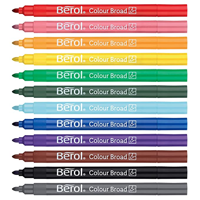 berol felt tip colouring markers broad point 1 2 mm washable