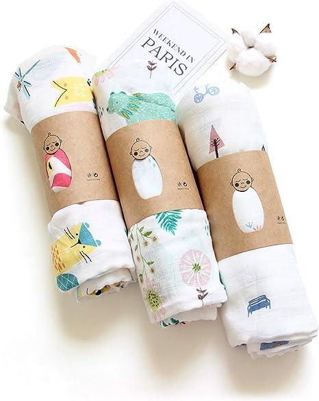 Layack Muselina Bebé, 100% Algodón Mantas de Muselina Unisex, 120CM x 120CM Muselinas Infantil (Pack de 3): Amazon.es: Bebé