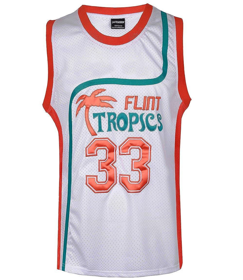 JOLI SPORT Men's 33 Flint Tropics Jackie Moon Semi Pro Basketball Jersey S-XXXL White