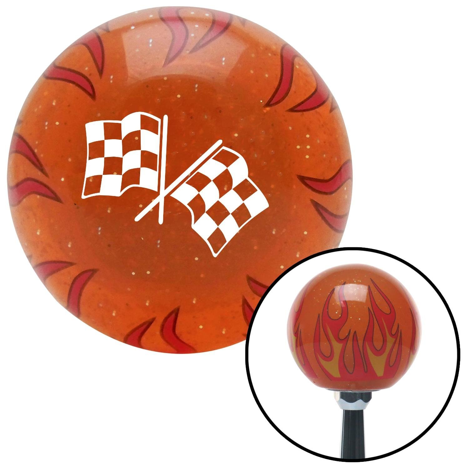 American Shifter 252760 Orange Flame Metal Flake Shift Knob with M16 x 1.5 Insert White Dual Checkered Flags