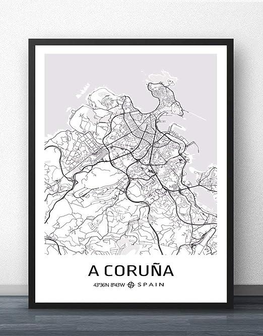 ZWXDMY Impresión De Lienzo,España A Coruña Mapa De La Ciudad De ...