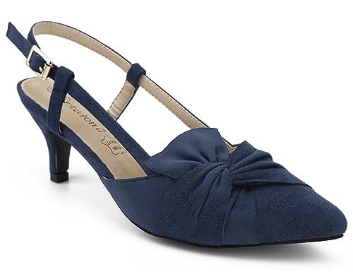 Greatonu Zapatos de Tacón Bajo Azul Oscuro Puntiagudo Diseño Elegante Modo para Boda Talón Abierto para