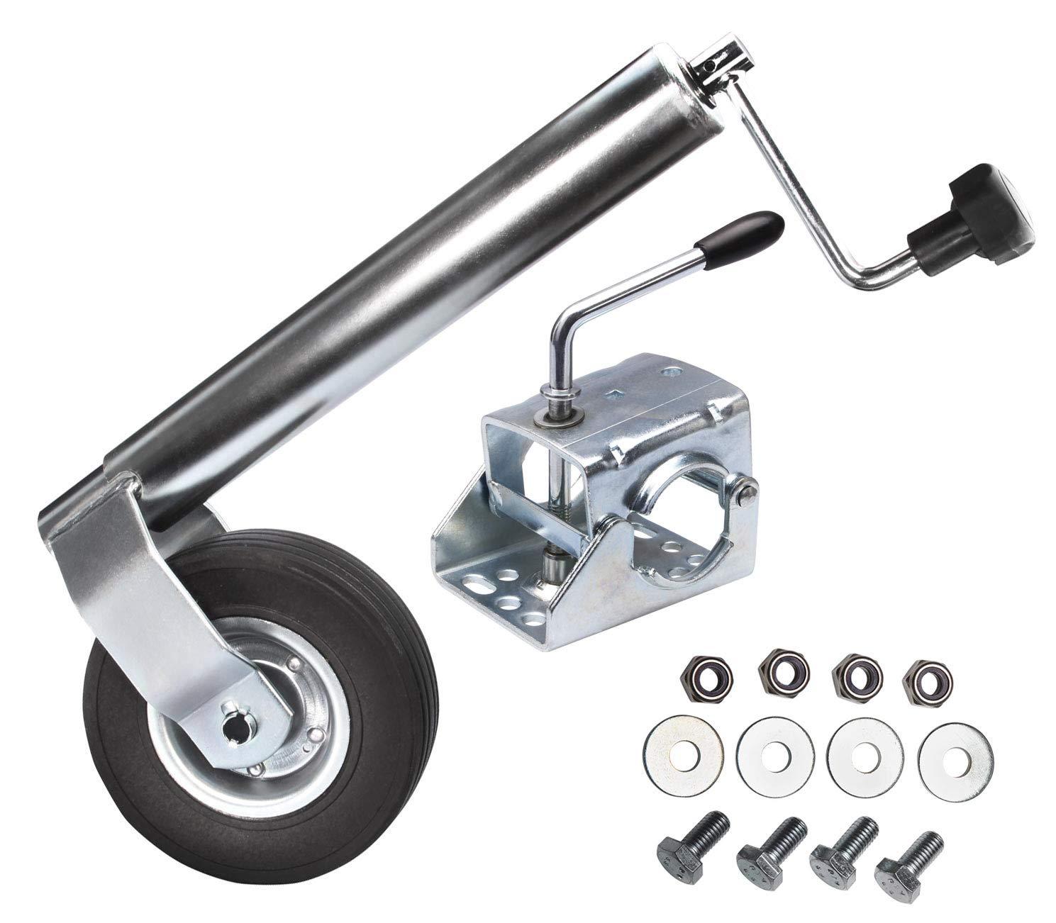 Roue jockey diamè tre 60 mm pour remorque + Fixation de roue + set de vis Otger Lensker