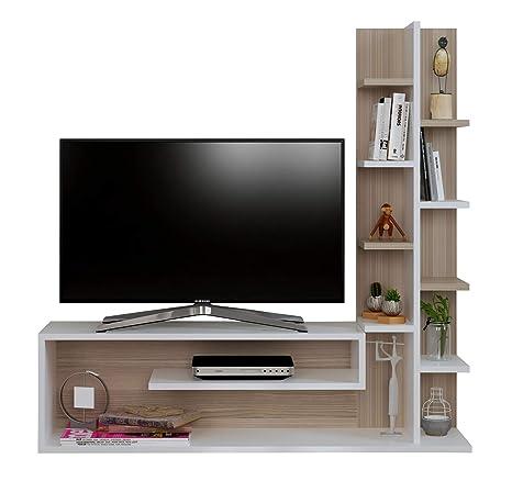 GLORY Mueble salón comedor para televisión - Blanco / Avola ...