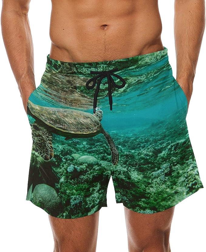 Sea Animals Mens Beach Shorts Swim Trunks Stripe Quick Dry Casual Polyester Swim Shorts