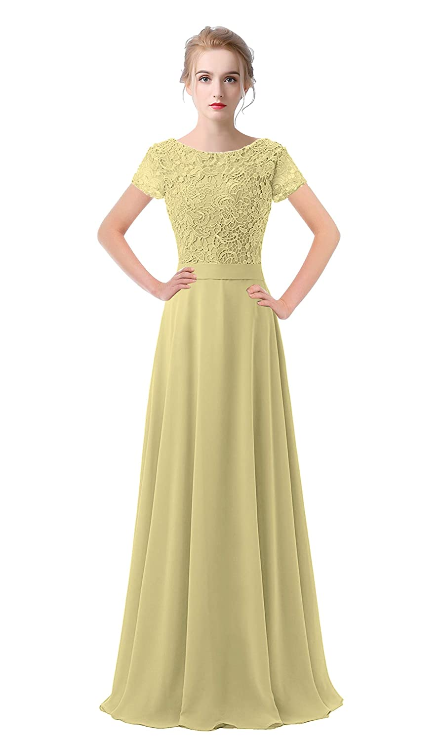 Champagne VaniaDress Women Lace Short Sleeves Long Evening Dress Prom Gown V061LF