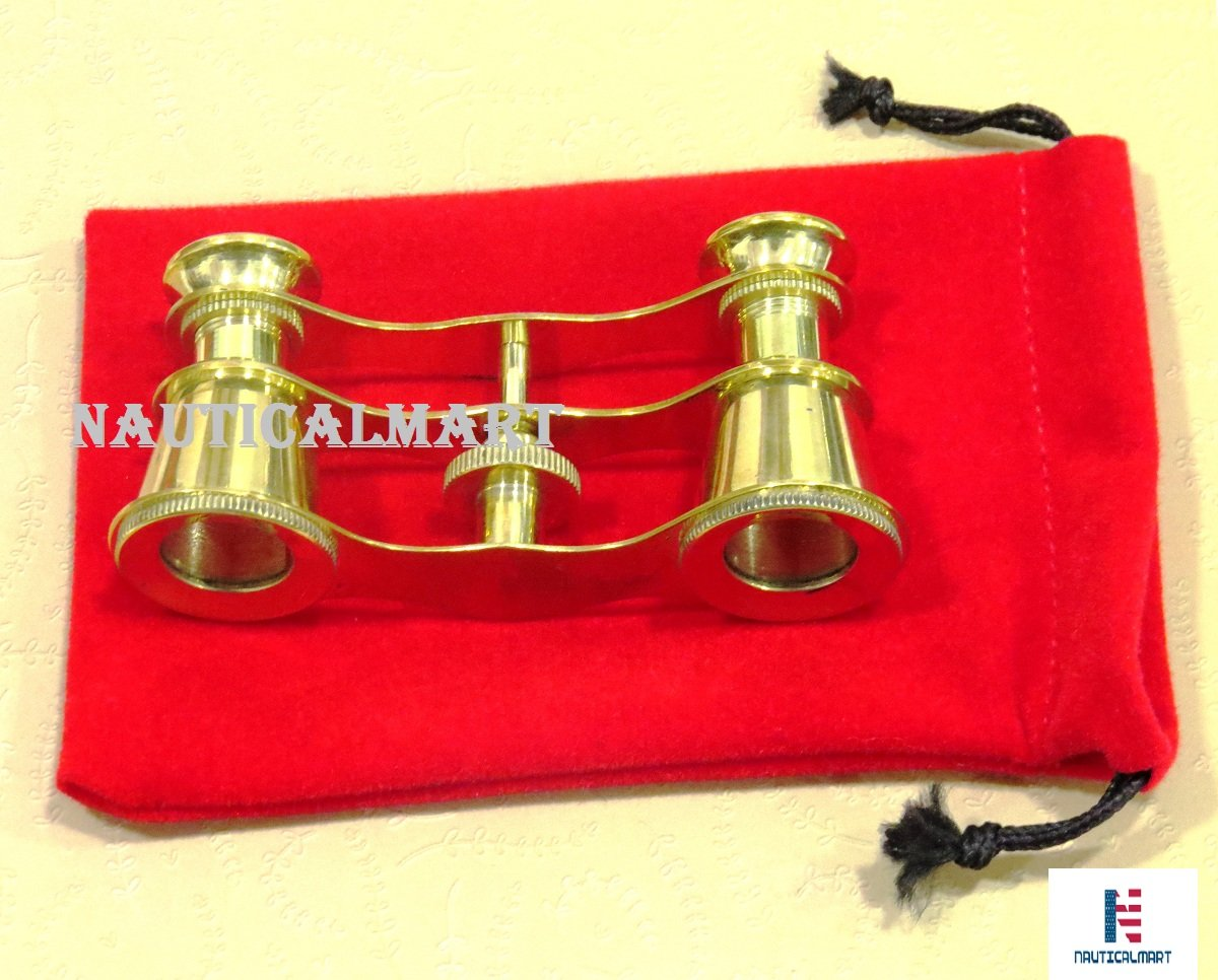 Brass Opera Glasses Theater Vintage Binoculars in Red Case by NauticalMart