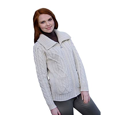 100% Irish Merino Wool Ladies Zip Aran Sweater with Pockets by West End Knitwear at Amazon Women's Clothing store