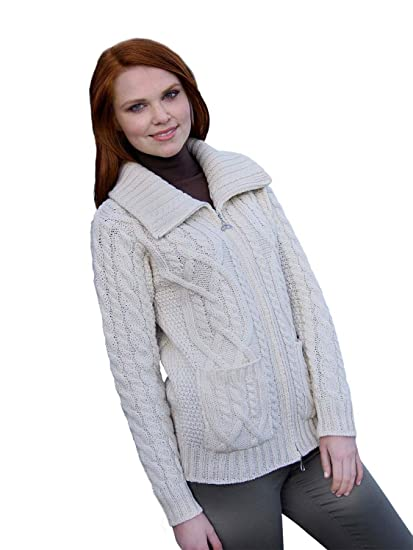 6c0923ad6c 100% Irish Merino Wool Ladies Zip Aran Sweater with Pockets by West End  Knitwear at Amazon Women s Clothing store