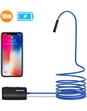 DEPSTECH 1200P Semi-rigid WiFi Endoscope 10M, Caméra HD 2,0 Mégapixels CMOS IP67 Etanche 16 inch Distance Focale &1800mAh Batterie Compatible avec IOS/Android/iPad/Mac/PC/Laptop (Bleu)