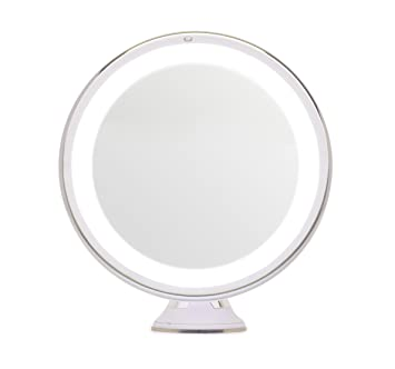 mirrorvana 8inch diameter 5x magnifying led lighted vanity makeup mirror - Lighted Vanity Mirror