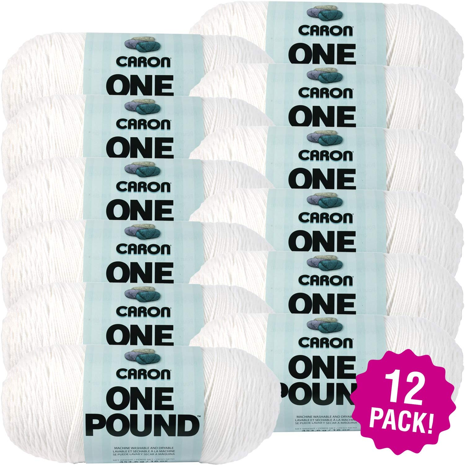 Caron 99628 One Pound Yarn-White, Multipack of 12, Pack