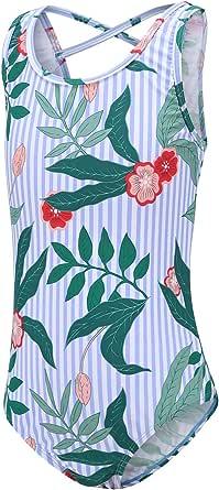 Moon Tree Girls One Piece Swimsuits Hawaiian Ruffle Swimwear Floral Bathing Suit