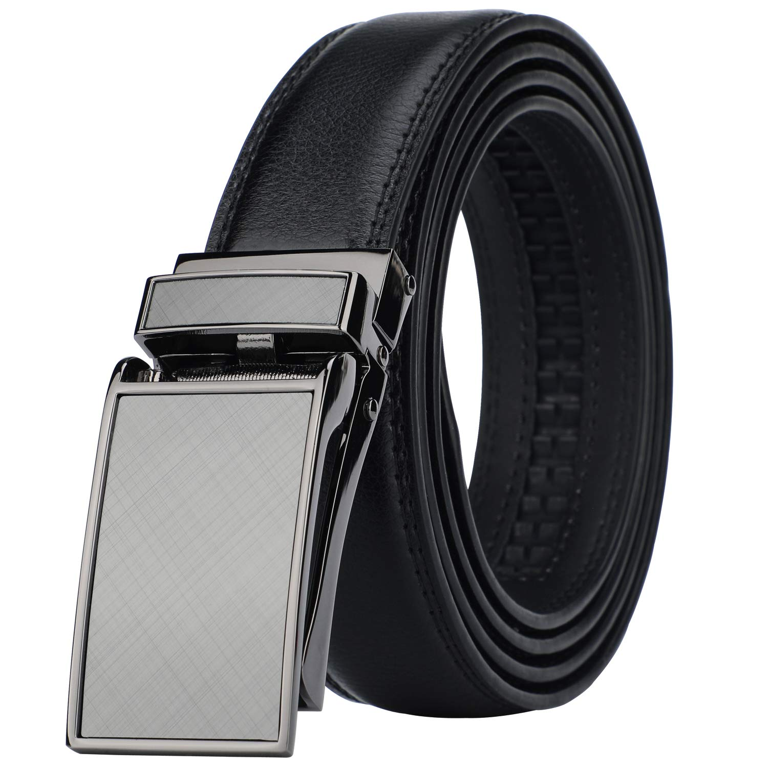 Men's Comfort Genuine Leather Ratchet Dress Belt with Automatic Click Buckle Style 1 -Black)