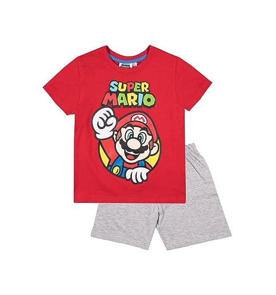 Mario Bros - Pijama dos piezas - para niño gris y rojo 9 años