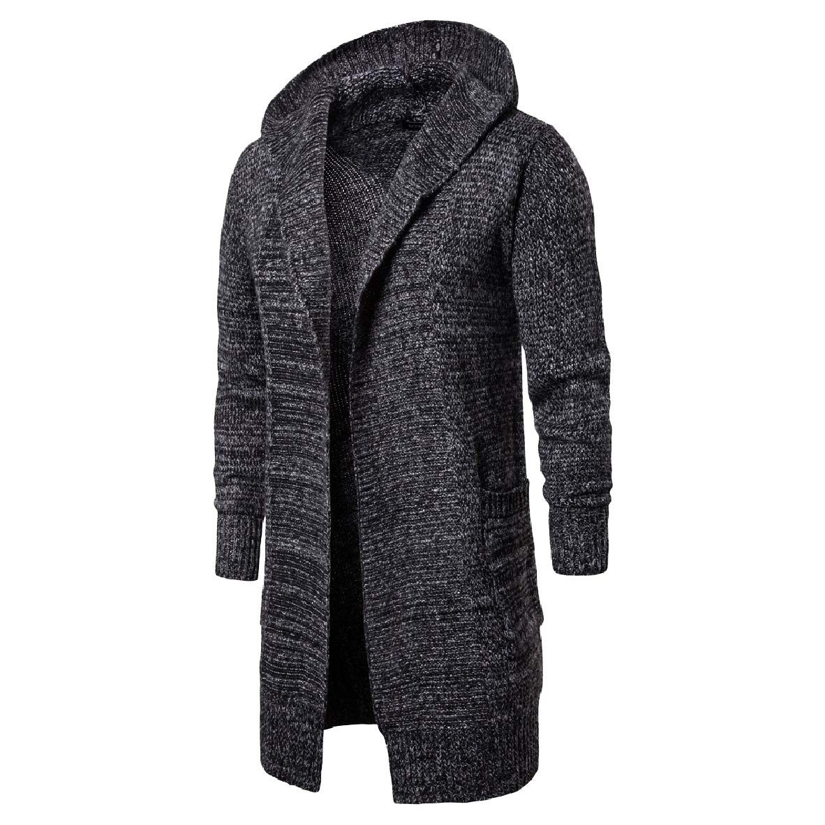 Andopa Mens Open Front Thicken Sweater Maxi and Midi Hood Cardigan