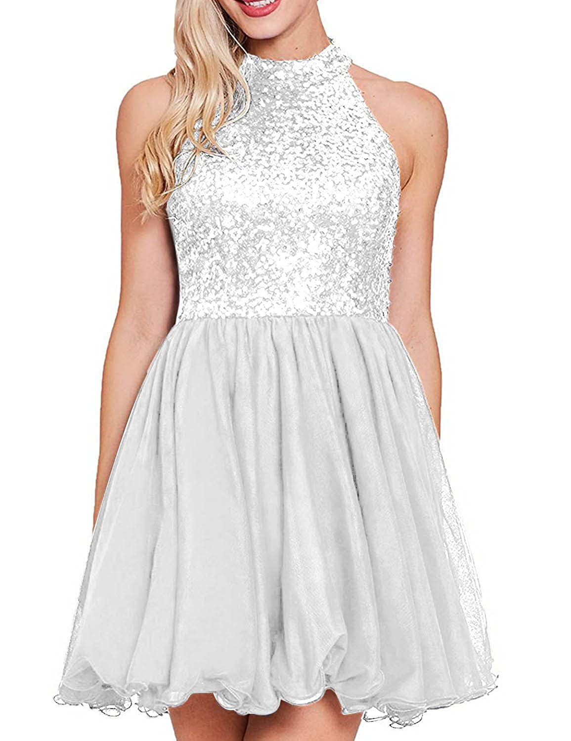 White YIRENWANSHA 2018 Sexy Halter Homecoming Dress Shiny Sequined Empire Waist Short Party Gown YW47